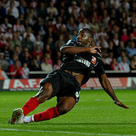 Happier Times: Pericard finally grabs a goal for Swindon