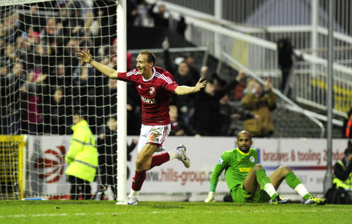 Swindon Town v Wigan Athletic - Paul Benson celebrates