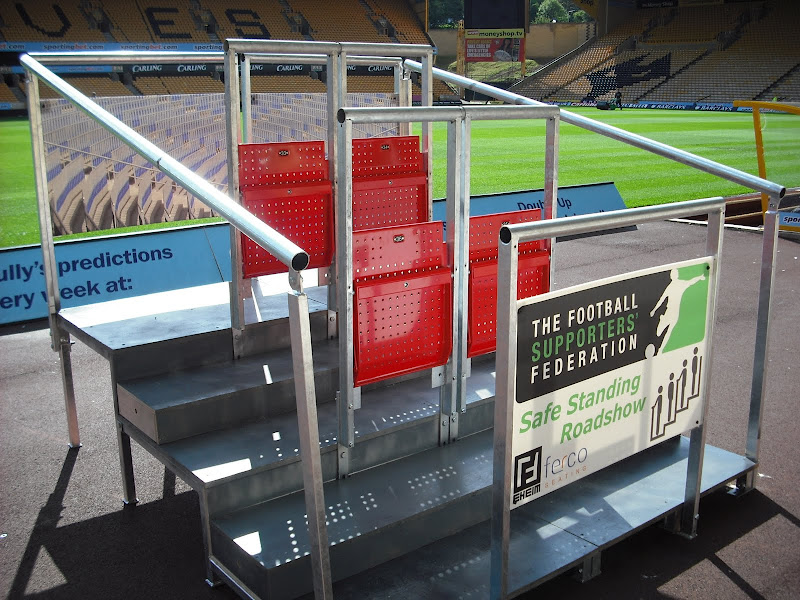 Safe-Standing Rail Seats being displayed at Wolves