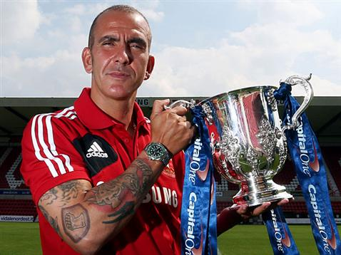 Paolo Di Canio with the League Cup