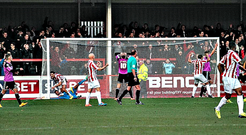 Terry Gornell scores against Swindon in the FA Cup