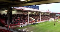 Football Away Days @FBAwayDays - Swindon Town fans at Walsall today. #stfc