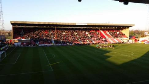 @dphunt88 a view of the Arkells Stand about 2 minutes before kick off. 9,200+ today, great crowd for #STFC!