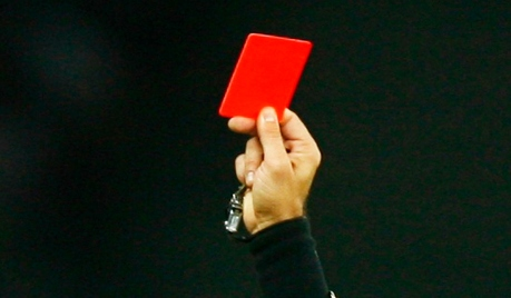 Red card on a black background