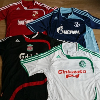 Swindon 09 home shown with other shirts in this template style, Schalke 04, 07 home, Liverpool, 07 3rd and Palmeiras (Sao Paulo) 07 away