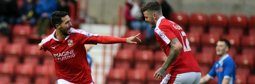 ©Calyx Pictures. licence No. FLGE15/16P5737 Swindon v Rochdale fabien Robert celebrates Swindon's first with Ben Gladwin who scores minutes later.