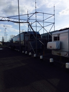 Sky TV Vans at County Ground
